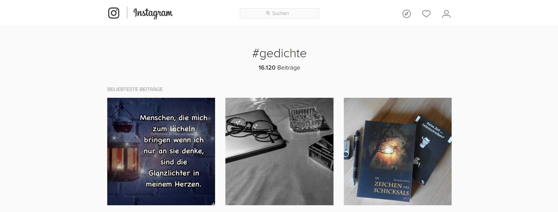Suche Hashtag