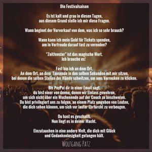 Gedicht die Festivalsaison