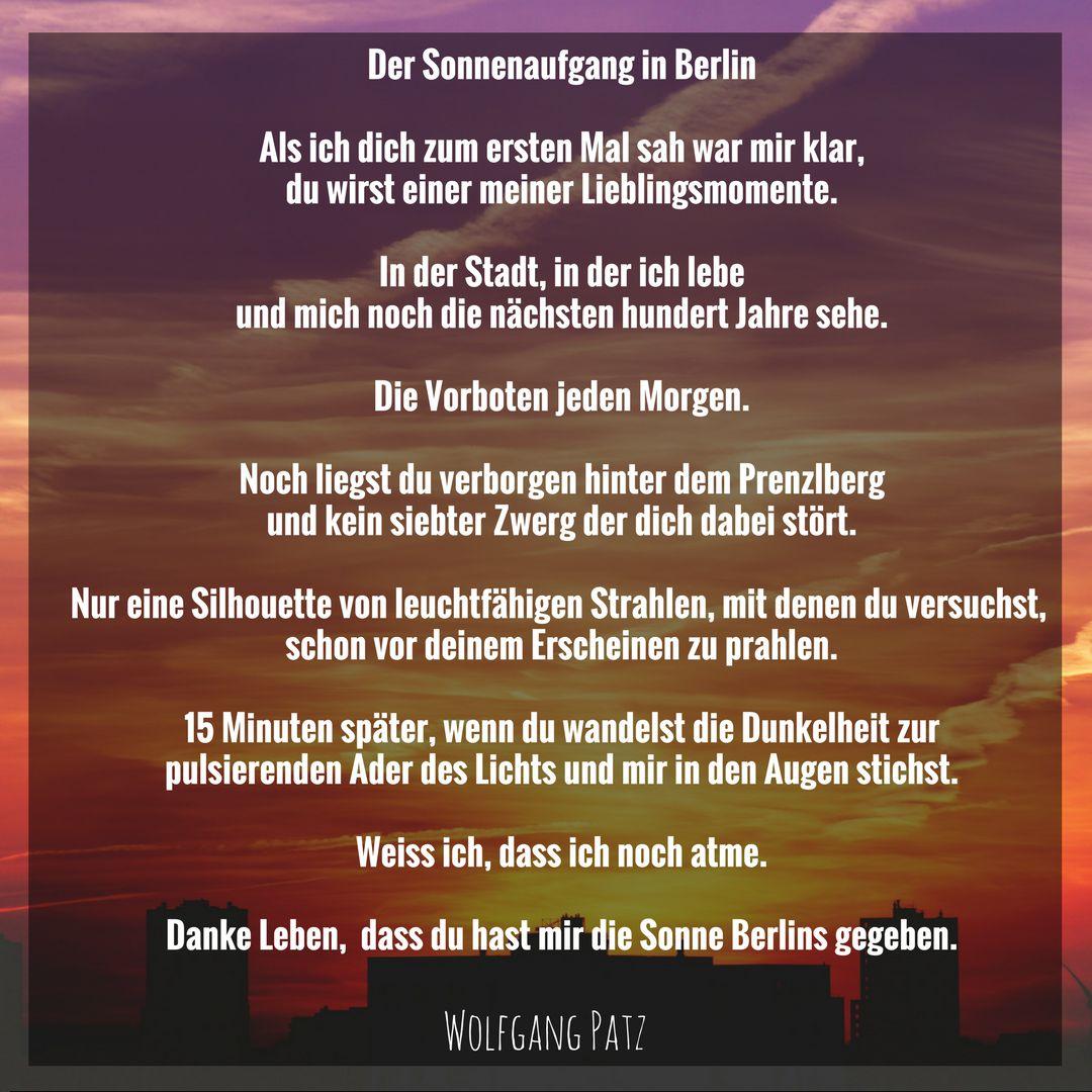 Gedicht der Sonnenaufgang in Berlin